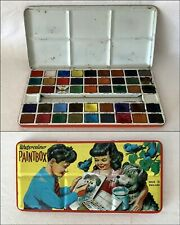 Vintage PAGE LONDON Water Based Block-Paints Paint Box with Loynes Illustration