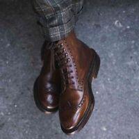 Handmade Men's Brown wingtip brogue leather dress boots, Men brown ankle boots