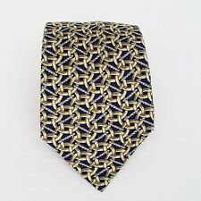 """HERMES Silk Tie Necktie 399 EA  -Blue Gold Locking Rings 58"""" X 3.5"""" -#2"""