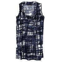 Jacqui E Womens Black/White/Purple Sleeveless Shift Dress Size L