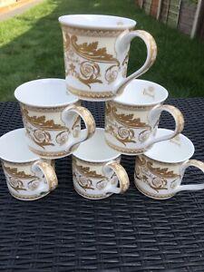 Harrods Coffee Mug Set Of 6 Cream Wings Fine Bone China Tea Coffee Ideal Gift