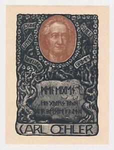Bruno Heroux Ex Libris Woodcut for CARL OEHLER Exlibris