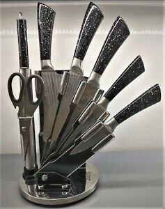 Luxury 8 Pieces Bass Knife Set Stainless Steel 420 Black Marble With Holder