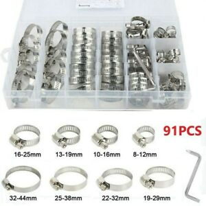 91pcs Assorted Stainless Steel Hose Clamp Kit With No Driver Jubilee Clip Set UK