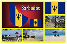 BARBADOS MAP / FLAGGE / SEHENSWÜRDIGKEITEN - SOUVENIR NEUHEIT KÜHLSCHRANK-MAGNET