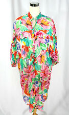 Vintage 1980's Phases Bright Floral Sheer Shirt Dress Beach Cover Up Cotton