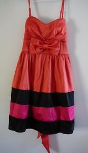 Hot Options Ladies Dress Size 12 Party Evening Sleeveless Orange Pink Black