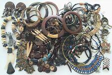 Gros lot bijoux ethniques colliers bracelets boucles bois os perles laiton...