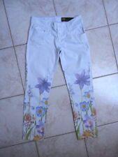 Shaft Deluxe Jeans Italienische Edelhose Luxusmarke hellblau Blütenm 34-36 NEUw.