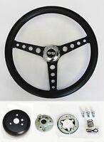 "Chevelle Camaro Nova Impala Black on Black Steering Wheel 14 1/2"" SS Center Cap"