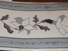 """Wallpaper Border Flower Vine Black Gray Grey Cream Off White Vinyl 5"""" Shiny NEW"""
