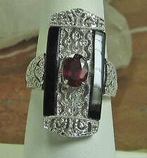 HSN Ruby, Black Spinel & .13 Diamonds 925 Sterling Silver Art Deco Ring SZ 8