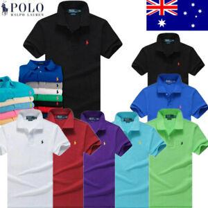 AU Men's Polo Ralph Lauren Polo Shirt Custom Fit Short Sleeve Small Pony T-Shirt