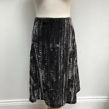 WHITE STUFF Crushed Velvet Skirt Size 14 Grey Lined
