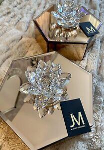 Set of 2 JM Julien Macdonald Lotus Crystal Trinket Boxes Rose Gold  - Gift!