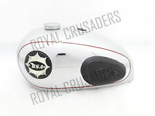 "BSA A7 SHOOTING STAR SILVER CHROME FUEL TANK+CAP+BADGE+TAP+KNEE PADS (4"" BADGES)"