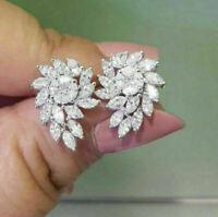 2.50 Ct Marquise Cut D/VVS1 Diamond Cluster Stud Earrings 14K White Gold Finish