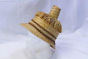 "Straw Hat Fringe Cloth Band 9"" Tall 2' Brim 22"" circumference Size 7"