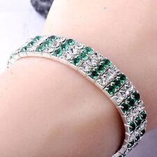 Womens White GF Silver 3 Row Clear Green Rhinestone Stretch Tennis Bracelet