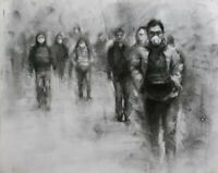 GHOSTS Urban People Landscape Charcoal Figure Drawing CONTEMPORARY ART Corona