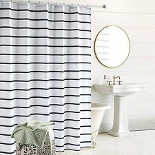 Nice Simple Black White Striped Modern Farmhouse Fabric Shower Curtain + Hooks