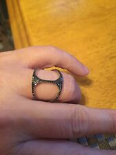 Carol Brodie Rarities Black Spinel Open Design Ring Sterling Size 7
