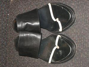 Womens Black ANN DEMEULEMEESTER white Sandal Leather Slide Platform Shoe RARE 6