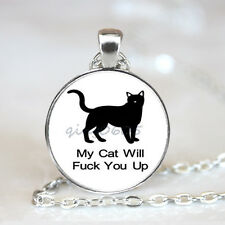 My Cat Will Glass Dome Tibet silver Chain Pendant Necklace,Wholesale