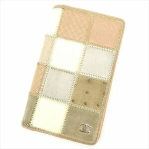 Chanel Wallet Purse Long Wallet Beige leather Woman Authentic Used T8415