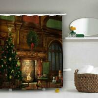 Home Decor Xmas Christmas Tree Fireplace Bathroom Waterproof Bath Shower Curtain
