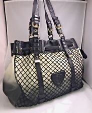 Juicy Couture Black Glove Leather Canvas Fishnet Large Tote Shopper    8