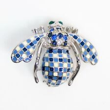 NEW Joan Rivers GINGHAM BEE PIN BROOCH Blue & White Check Crystal Enamel Silver!