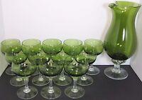 12 Sasaki Coronation Dark Green Glass Liquor Cocktail & Martini Mixer Pitcher