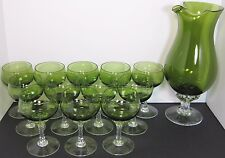 12 Sasaki Coronation Dark Green Glass Liquor Cocktail & Martini Mixer Pitcher