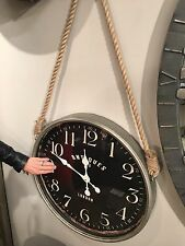 RICH AGED MATTE BLACK ROUND LARGE NUMBERS WALL CLOCK ROPE ACCENT VINTAGE STYLE