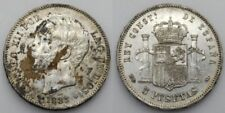 ESPAÑA ALFONSO XII 1885 *18-85 MSM 5 PESETAS MONEDA PLATA EBC MANCHITA