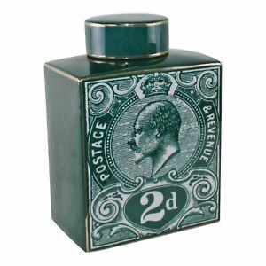 Geko Postage Stamp Decorative Ginger Jar, Teal Green Green - S-TJBH40-G
