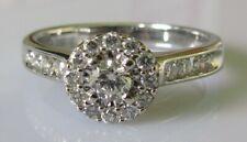 Gold Diamond Ring - 18ct White Gold Diamond (0.50ct) Cluster Ring Size M