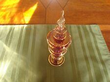 Vintage Pink delicate hand blown glass Perfume Bottle bubbles w dropper Vanity