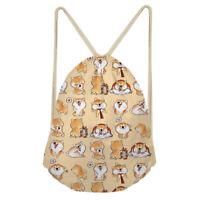 Cute Dog Shoulder Drawstring  Womens Kids Men Bag Small Shoulder Sling Sports