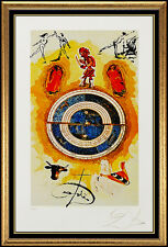 Salvador Dali Color Lithograph Hand Signed Wheel Of Fortune Tarot Card Artwork