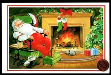 Vintage Christmas Santa Cat Fireplace Stockings Tree - Christmas Greeting Card