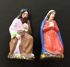 2 antike Pappmaché Krippe Figuren Maria + Josef