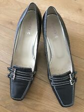 Geox Black Leather Shoes, 41, Heels 2 Ins,twin Buckle Trims