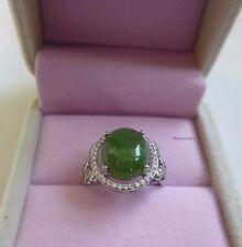 Certified 6CT untreated green Jade (HeTianBiYu) sterling silver Ring adjustable