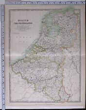 1915 LARGE MAP BELGIUM & THE NETHERLANDS ANTWERP HOLLAND LIMBOURG AMSTERDAM