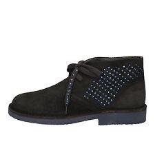 scarpe donna KEYS 36 polacchini grigio blu camoscio strass AE593-B