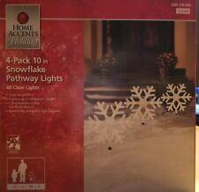 "New 19"" Set 4 Snowflake Pathway Marker Lights Outdoor Christmas Decor"