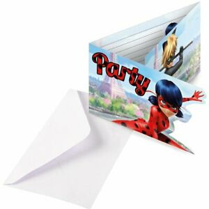 Official MIRACULOUS LADYBUG Party INVITATIONS 8 Pack Invites Birthday Girls Bird