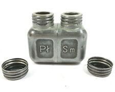 ORIGINAL VINTAGE DOUBLE COMPARTMENT OIL AND GREASE CAN BOTTLE RIFLE GUN BERYL
